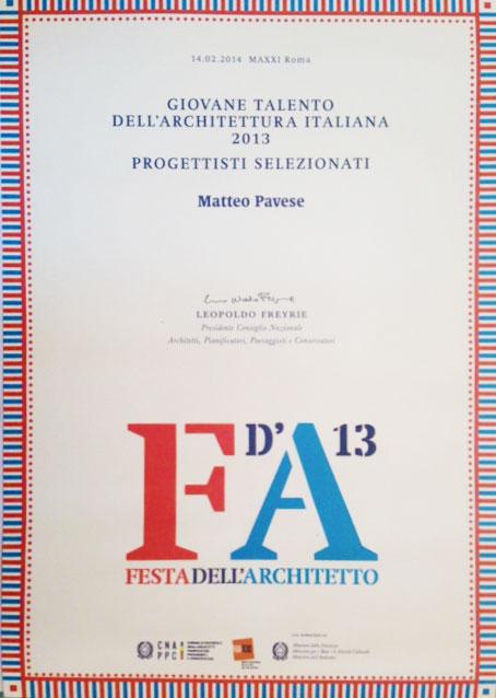 Giovane Talento dell'Architettura Italiana 2013